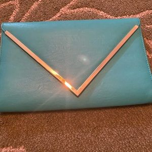Turquoise Envelope Clutch Chain Purse